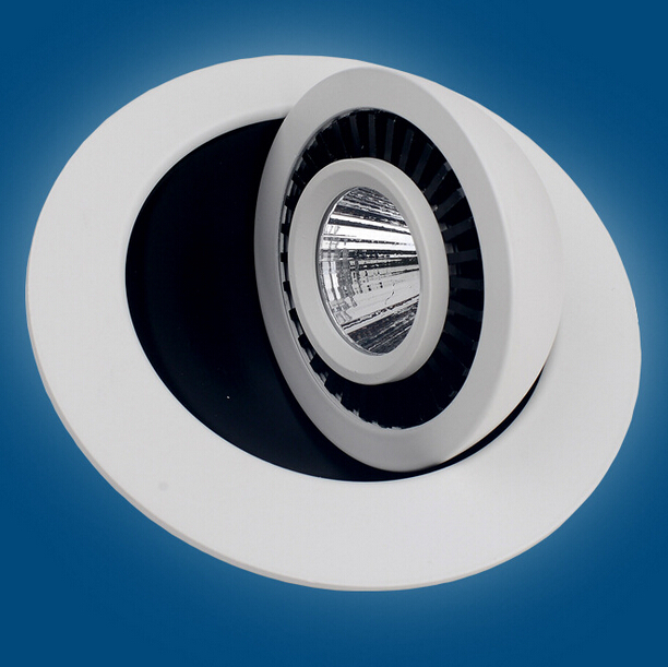 Free Shipping White shell 12W Warm white/White/Cold White Dimmable COB Led Ceiling Down light 360 degree rotation AC85-265V CE