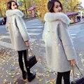 Искусственного Меха Воротник Пальто Шерсти Дамы Вышивка Шерстяное Пальто для Женщин Зима Теплая Хлопок Paddded Верхняя Одежда