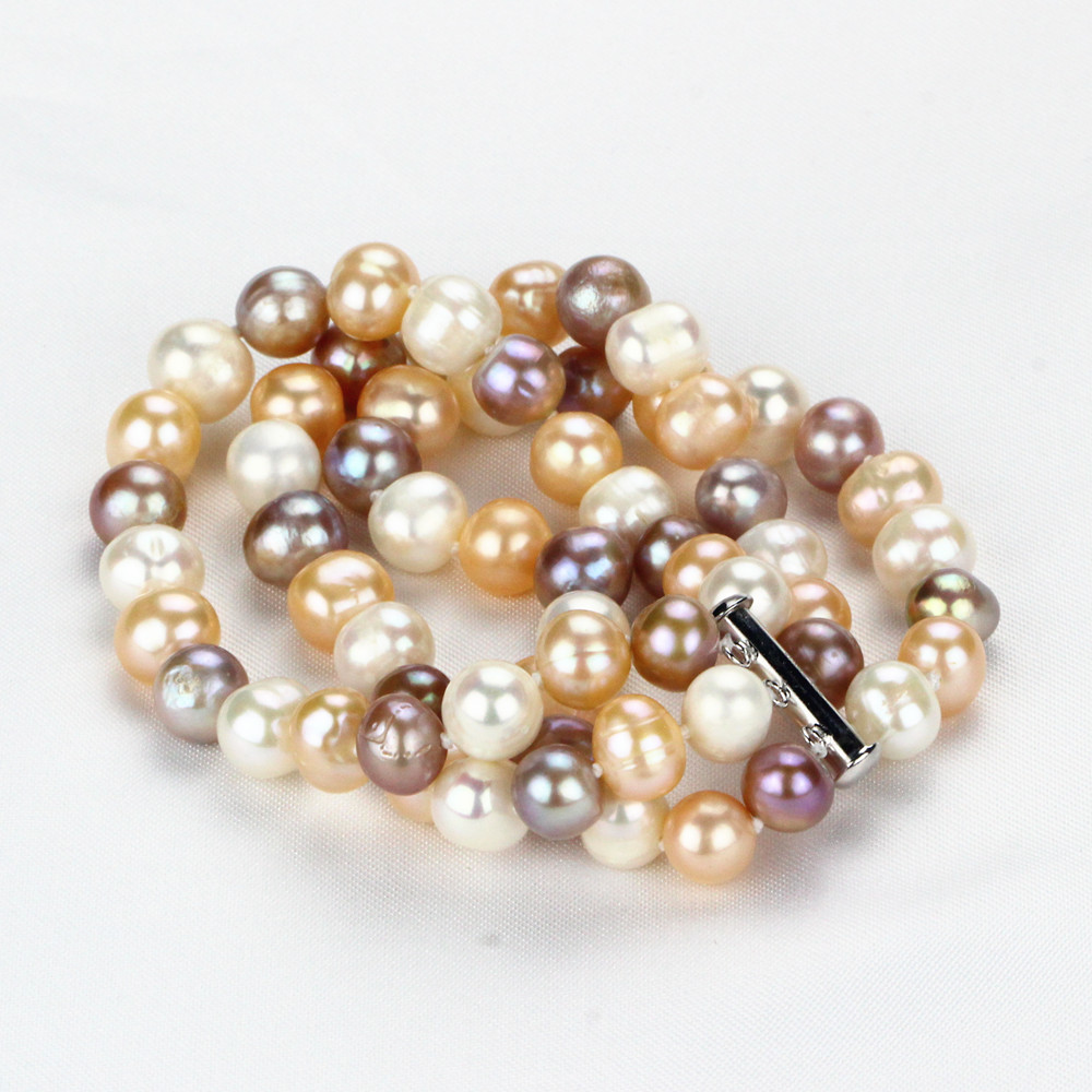 SNH 9mm AA- potato mixed color pearl bracelet 7.5'' cultured natural freshwater bracelet pearl free shipping