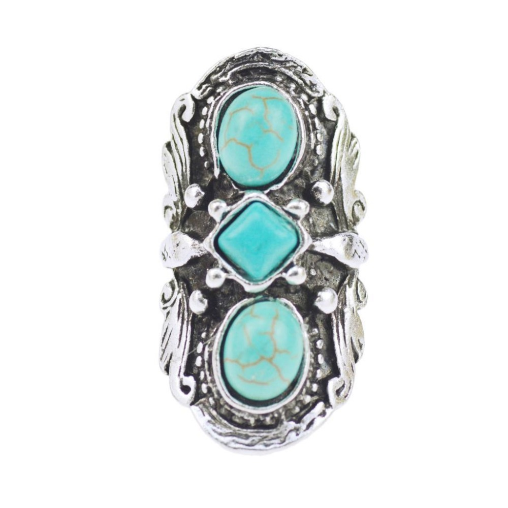 Hot Sale New Natural Stone Blue Rings Topquality Antique Vintage Gothic  Carved Tribal Lady's Open Ring