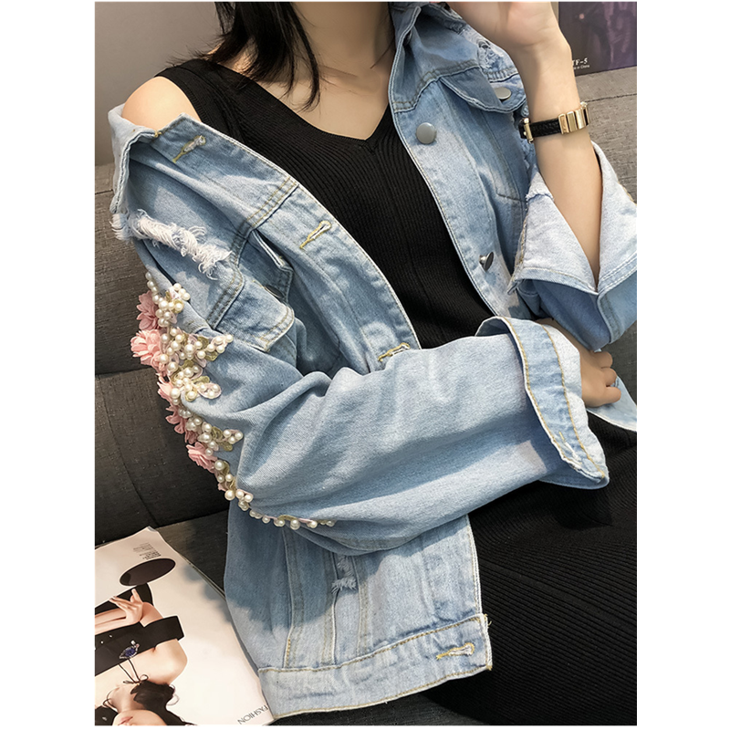 2019 Spring Women Embroidery Flowers Long Sleeve Denim Jacket Turn Down Collar Women 39 s Fashion Flowers Pearl Bead Jeans Coat in Jackets from Women 39 s Clothing