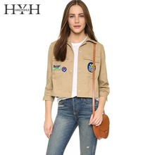 HYH Haoyihui 2019 New Arrival European And American Fashion Casual Jacket Back Shoulder Fold Pattern Patch Lapels Short Coat недорого