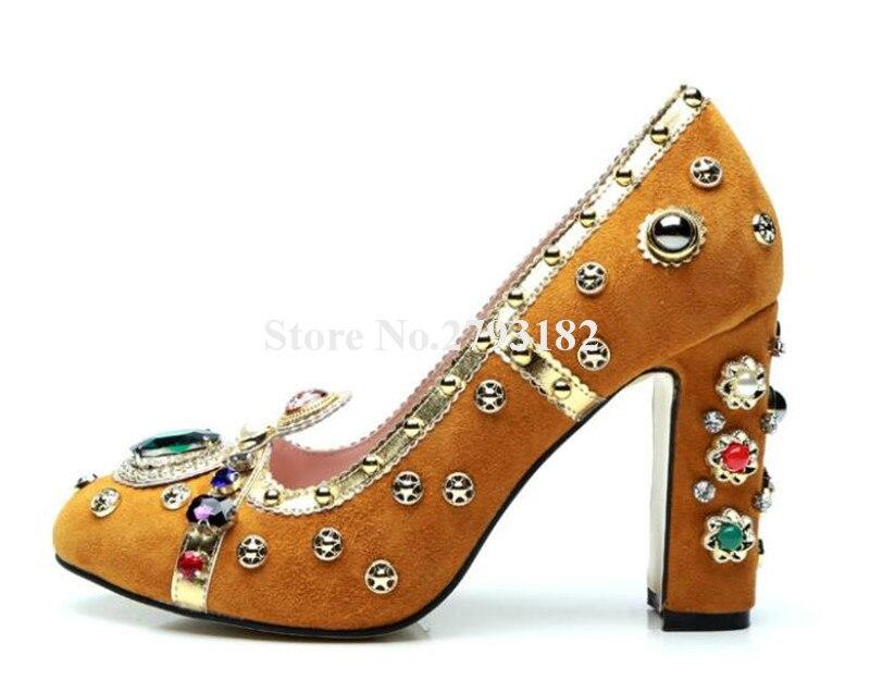 Брендовые женские модные красные, оранжевые, фиолетовые замшевые туфли лодочки со стразами на не сужающемся книзу массивном каблуке туфли ... - 5