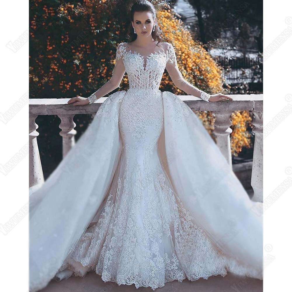 Abiti da Sposa Mermaid Vestido de Noiva Luxo 2019 Mudou-se Com Trem Apliques Mangas Compridas Vestidos de Casamento Custom Made Vestido de Novia