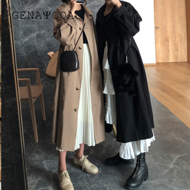 Genayooa High Quality   Trench   Coat For Women Casual   Trench   Long Coat Streetwear Overcoat Single Breasted Women's Windbreaker