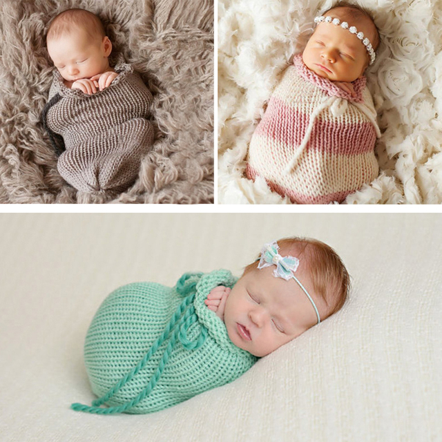 Baby photography props newborn photography wraps handmade crochet knitted sleeping bag wool knitted bebe photo props