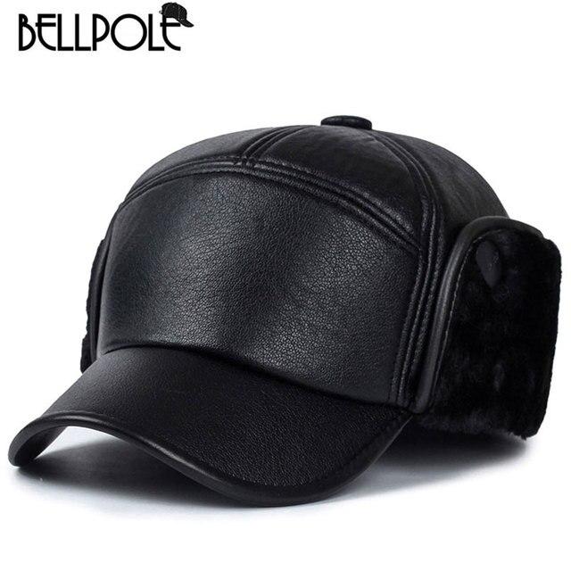 2018 nuevo real invierno sombreros gorras para hombres pu cuero sombrero  Pieles de animales bombardero con e91c2193666