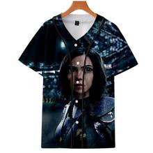 Alita Battle Angel Printed Casual 3D Baseball Uniform Women Hot Shooting Game Tshirt hip-hop Loose Plus Size Men