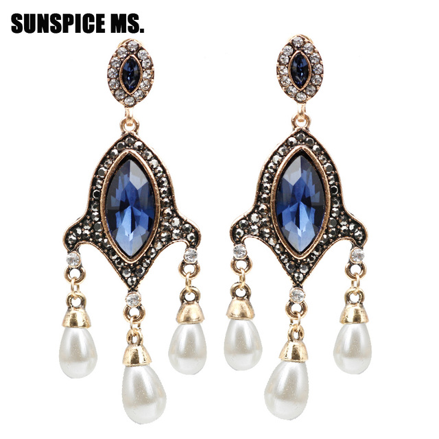 Sune Ms Vintage Turkish Simulated Pearl Drop Long Earring Women Antique Earrings India Retro Jewelry Wedding