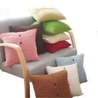 Nordico Malha Torcida do vintage Throw Pillow Caso Capa de Almofada 100% algodão Sólida Decoração Da Casa de Café de Alta qualidade