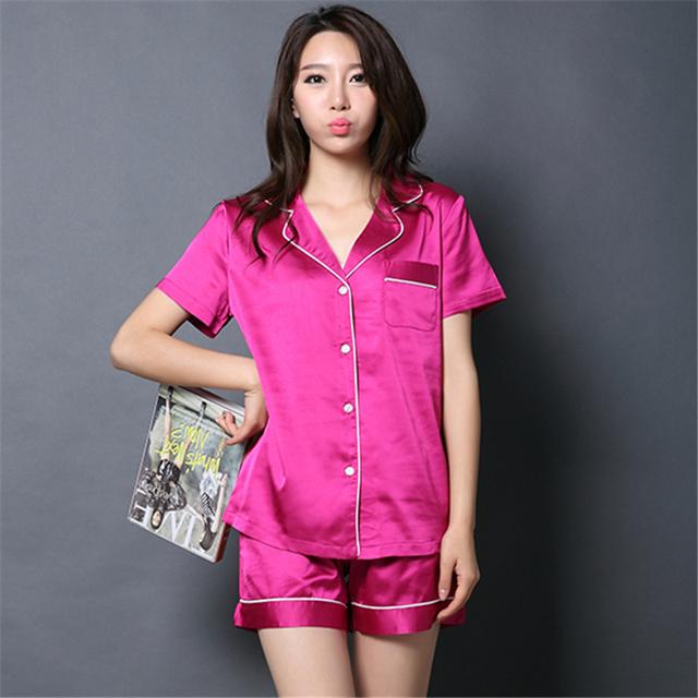 Para mujer pijama de seda Shorts Short botón de la manga camisa y Short Set 2016 mujeres del verano pijamas de seda de satén ropa de dormir