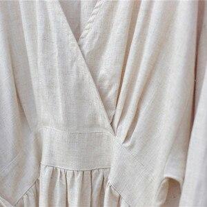 Image 5 - Johnature 2020 wiosna pościel bawełniana nowy dekolt w serek luźne jednolity kolor długi sukienka Vintage nowy 3 kolory chiński styl kobiety sukienki