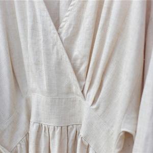 Image 5 - Johnature Mùa Xuân 2020 Vải Bông Mới Cổ Chữ V Rời Màu Trơn Dài Đầm Vintage 3 Màu Sắc Phong Cách Trung Hoa Nữ Áo