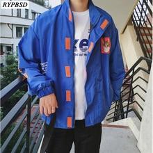 New 2019 Autumn Letter Print Korean Jacket Men Hip Hop Stand Collar Loose Fashion Long Sleeve Streetwear Harajuku Jacket Men