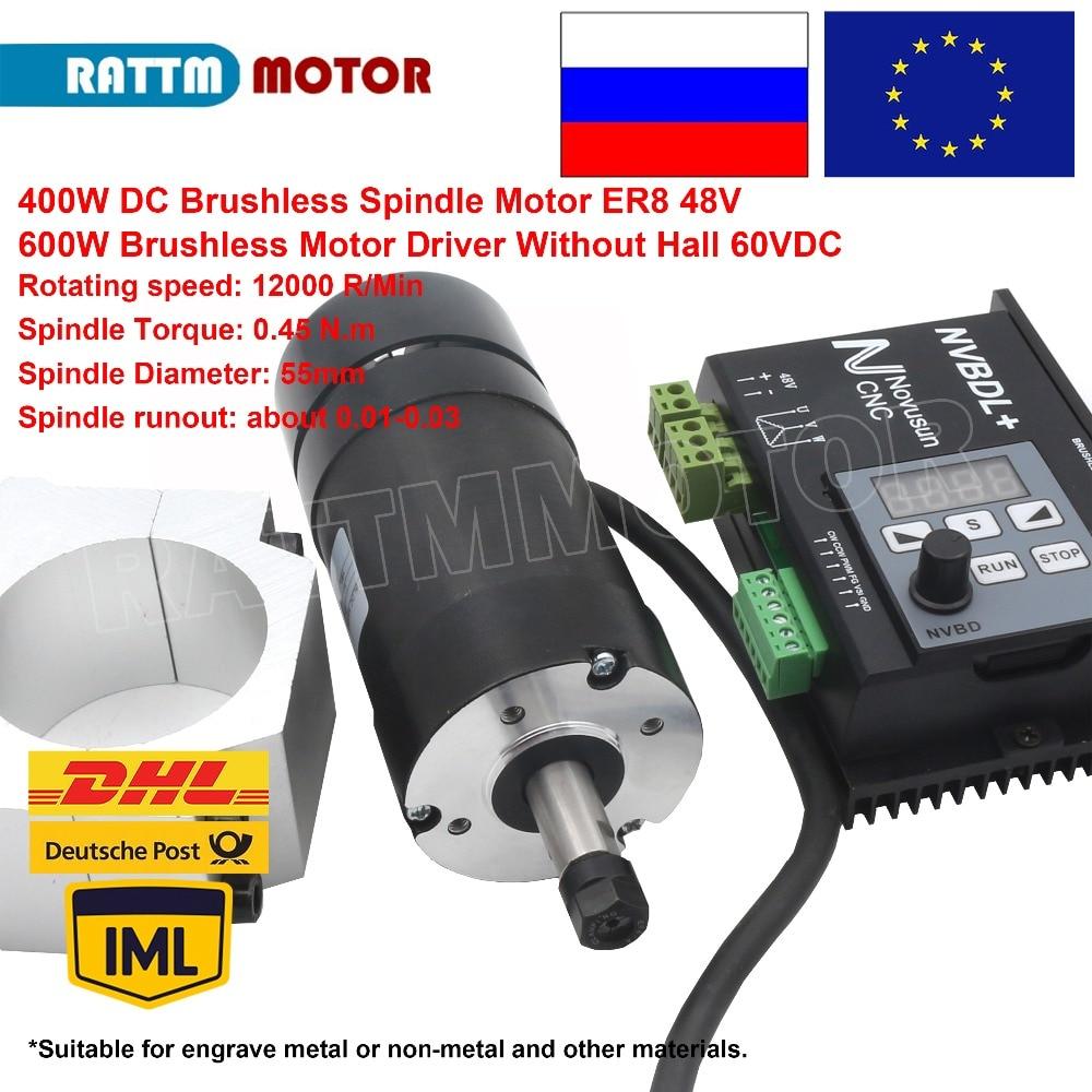 EU/RU Consegna!! 400 W DC Brushless Motore Mandrino ER8 48 V + 600 W Brushless Driver Del Motore Senza Sala 60VDC per CNC incisore Macchina