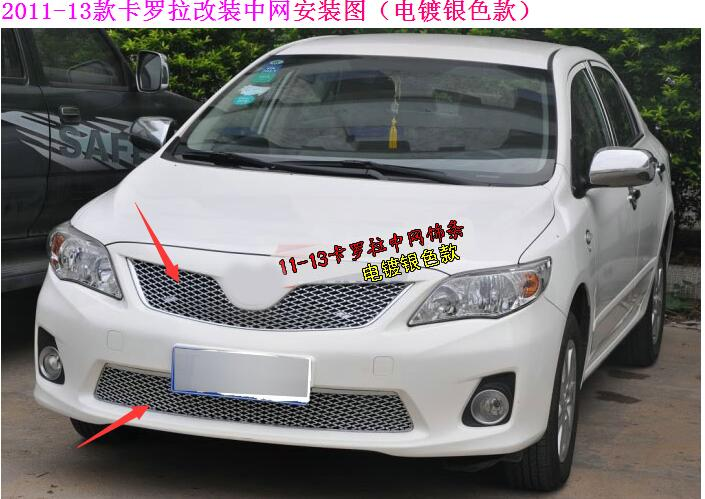 Car styling For Toyota Corolla 2011-2013 high quality ABS Chrome Front Grille Around Trim Racing Grills Trim