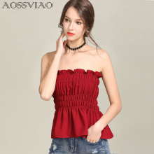 все цены на AOSSVIAO Off shoulder lace up sexy blouse shirt Women ruffle sleeveless blouse tops 2019 fashion summer white blouse feminine онлайн