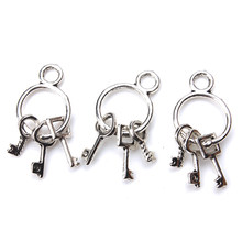 10pc/lot 25mm x14mm Keys Charms Antique Silver Tone Cute for necklace pendant charms diy jewelry making(China)