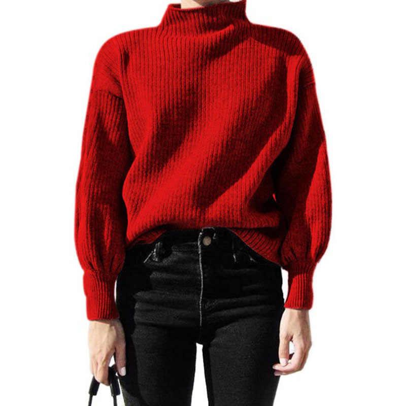 Women's Bottoming Sweater Half-high Collar Lantern Sleeve Sweater White Yellow Red Gray Black Knit Warm Sweater Women
