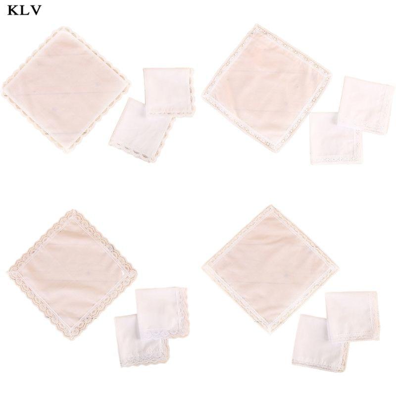25x25cm Ladies Plain White Floral Lace Trim Cotton Handkerchiefs Bridal Wedding Square Napkin Gift DIY Print Draw Pocket Hankies