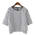 Fashion 2017 Black White Striped t shirt Women Basic Short Sleeve O-neck  Casual Summer Tops camisetas mujer XZWM5