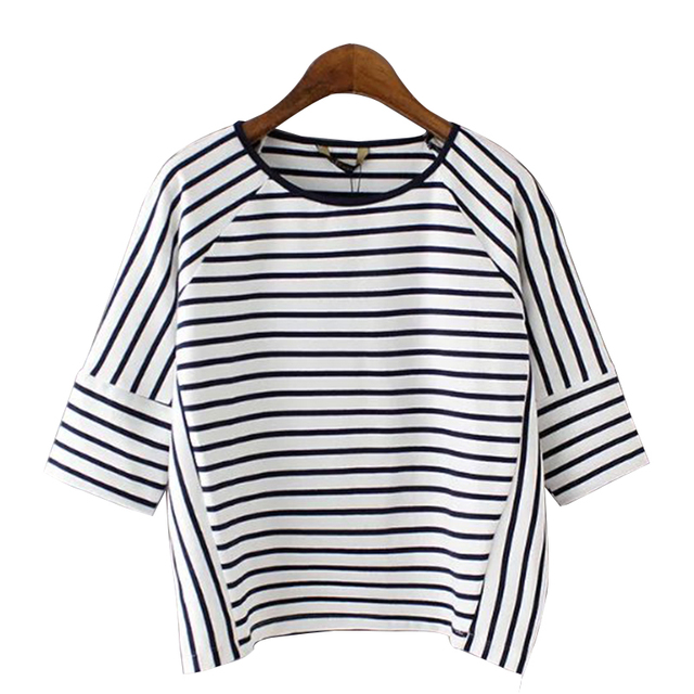 Fashion 2017 Black White Striped t shirt Women Basic Short Sleeve O-neck  Casual Summer Tops camisetas mujer XZWM5