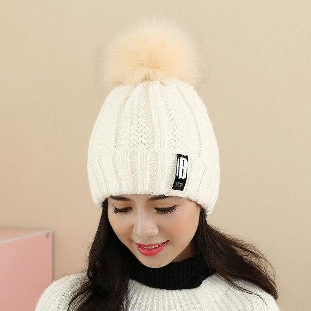 80e66d5a051e9 Winter Knit Caps Faux Fur Ball Pom Beanies hats thick Letter Warm skullies  women crochet Gorros Lady winter style Hat Cap