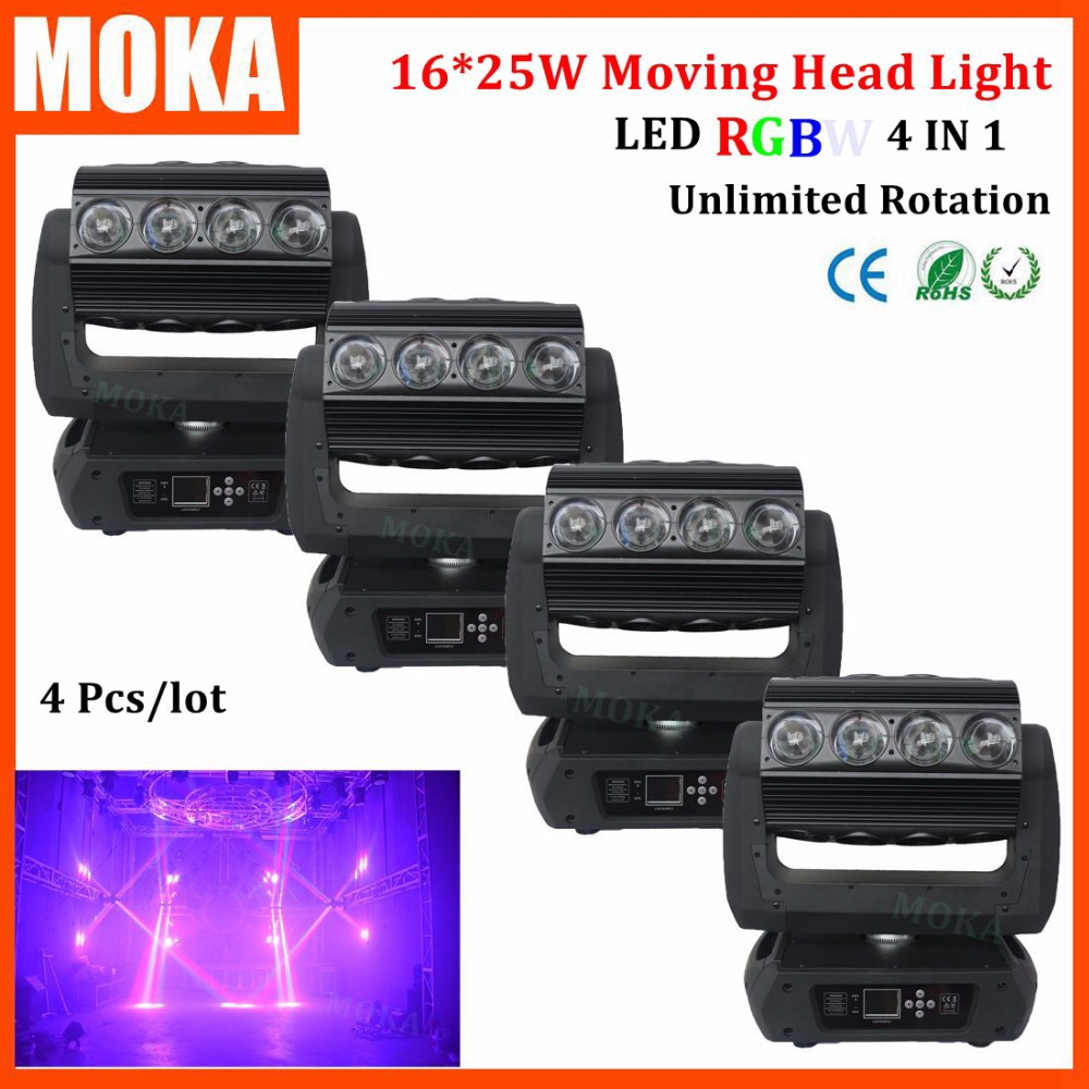 4 Pcs/lot Super beam moving head light spider led 16pcs 25W stage dj  light DMX 18/30/82CHs strobe unlimited rotation 6pcs lot moka16 25w rgba 4in1 moving head light zoom beam wash spider light dimming strobe stage lighting effect led projector