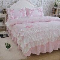 Новые Роскошные Слои постельных принадлежностей сладкая принцесса Лук рюшами пододеяльник свадьбы постельных розовый простыней девочка к