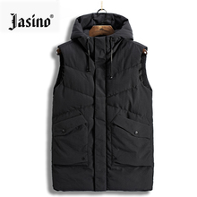 Men casual warm sleeveless long down vest jackets men wind breaker jackets coats hooded winter vest men parkas coats