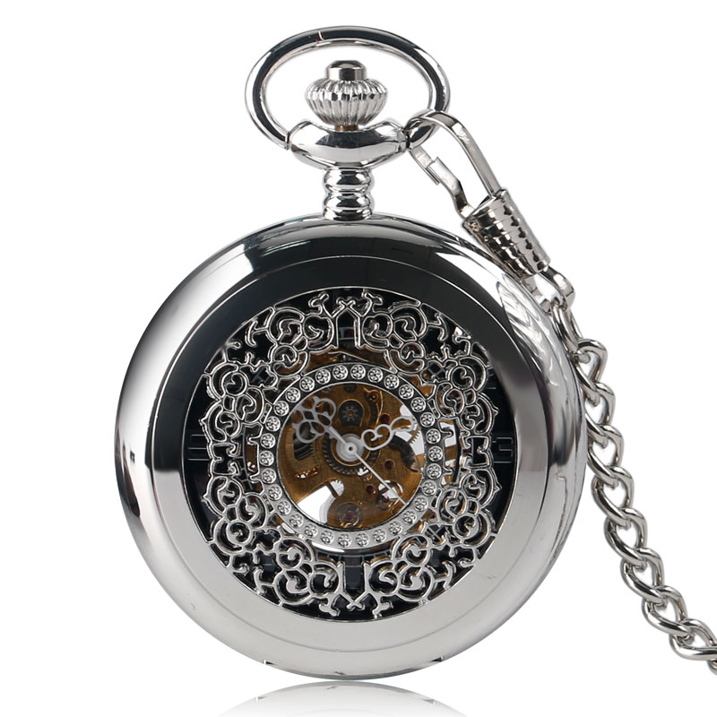 Hollow Exquisite Stylish Luxury Silver Pocket Watch Pendant Women Men Mechanical Hand Winding Steampunk Fob Chain Retro Gift old antique bronze doctor who theme quartz pendant pocket watch with chain necklace free shipping