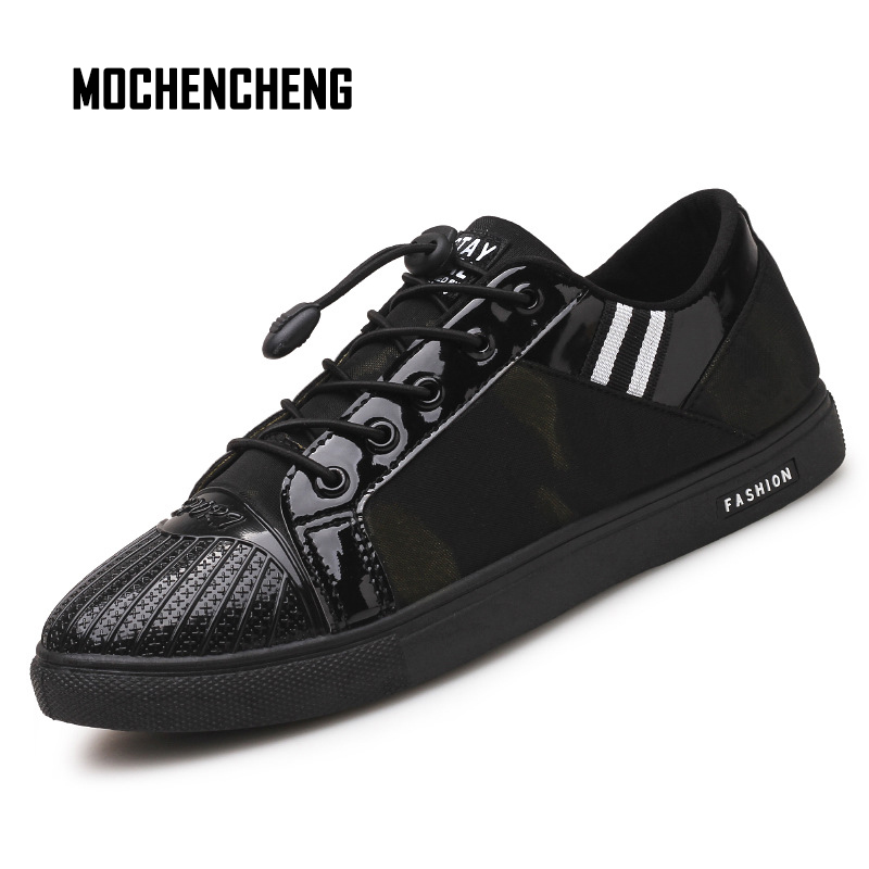 Men PU Leather Casual Shoes Basic Comfortable Lining Flat Round Toe Fashion Sneaker Male Rubber Leather Shoes