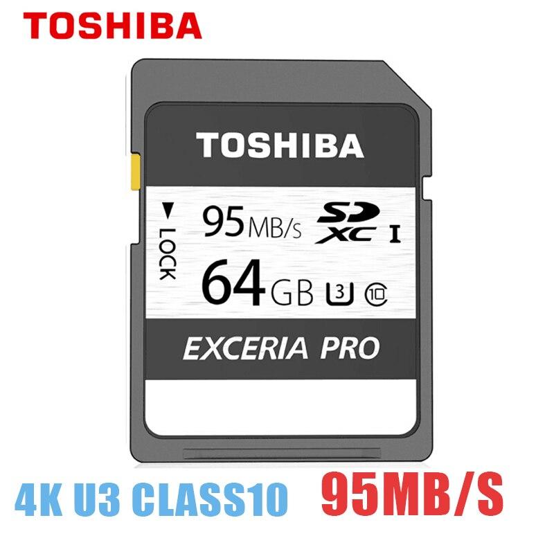Carte mémoire originale Toshiba extrait pro N401 carte SD flash UHS-I U3 carte SD 64 go Max 95 mo/s carte SD Class10 4 K UltraHD SDXC