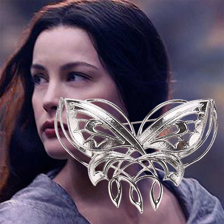 The Elves Arwen Evenstar Butterfly Brooch Pin Badge Accessories Silver Color Fashion New Hot Movie Jewelry Men Women Wholesale