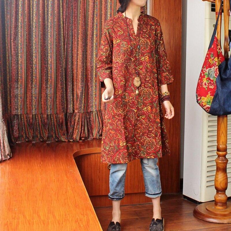 Style populaire femmes printemps rétro col en V longue chemise simple lâche coton linge longues blouses