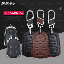 Genuine Leather Remote Smart Key Case Fob Shell Cover Skin Holder For Cadillac XT5 XTS ATS CT6 CTS 28T ATS-L SRX XLS