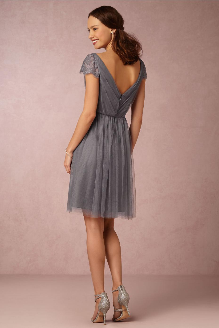Tea length grey bridesmaid dresses with short sleeves v neck tea length grey bridesmaid dresses with short sleeves v neck chiffon ruffles lace silver bridesmaid dress adult gown dresses in bridesmaid dresses from ombrellifo Image collections