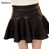 Kobeinc Women PU Leather Skirts High Waist Mini Skirts Bodycon Lined Faldas Punk High Street Stylish