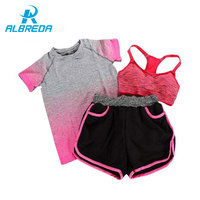 Albreda النساء اليوغا الرياضة البدلة الصدرية تعيين 3 قطعة الإناث قصيرة الأكمام الصيف في عرق فتل ملابس رياضية الجري