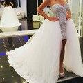 Único Branco Querida Grampeador Prom Dress Frente Curto Longo Em Voltar Cristal Frisada Corpete Alta Baixa Vestido de Festa