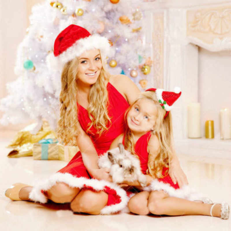 ファッションクリスマス家族マッチングドレスママと娘の服毛深いノースリーブチュチュレッドドレスクリスマス衣装