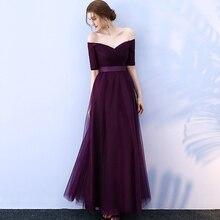 Beauty-Emily Long Burgundy Cheap Bridesmaid Dresses 2019 A-Line Off the Shoulder Half Sleeve Vestido da dama de honra