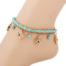 Summer Fashion Boho 2 Layers ankle chain  Rhinestone Flower Beads Tassel Turquoise Foot Chain Anklet Bracelet For Women