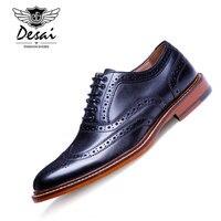 DESAI Brand British Style Full Grain Leather Men Carving Oxford Shoes Vintage Design Men Brogue Business