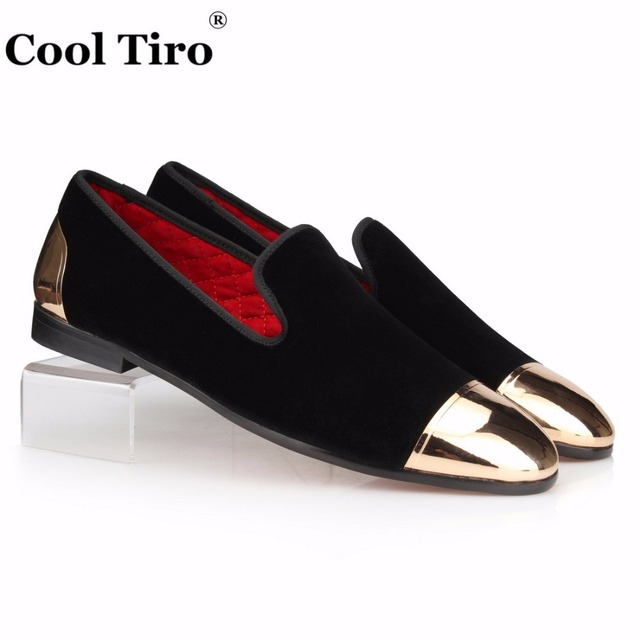 COOL TIRO Men Loafers Black Velvet Shoes Slide Slippers Velours Slip-on Dress  Shoes Men s Flats Metal Toe and heel Casual Shoes d6f6b68d7de4