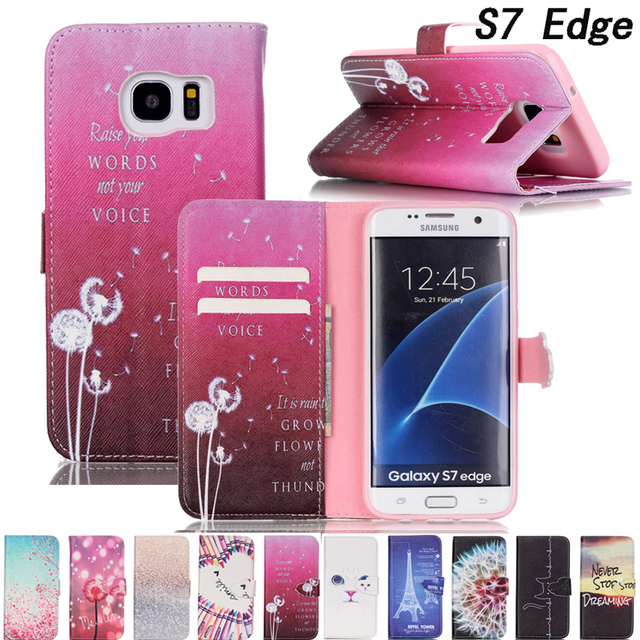 SM-G935F/SM-G9350 Luxury Leather Flip Phone Case For Samsung Galaxy S7 Edge 3D Cute PU+Silicone Wallet Cover For Galaxy S7 Edge
