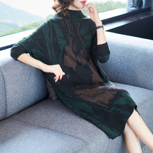 Turtleneck elastic knit loose sweater 2018 new women autumn winter basic long dress