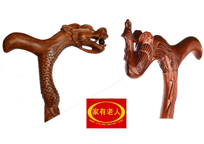 Filial piety elderly Rosewood rosewood natural wood leading Phoenix  birthday gift cane(China (Mainland