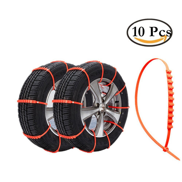 59d24911a0c4 FreshGo Snow Tire Chains, Adjustable Zip-tie Anti-skid Chains for  Cars,SUV,10-Piece Stripes