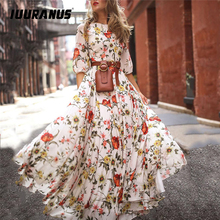 IUURANUS  2019 Women Casual Summer Dress Half Sleeve Boho Dresses Swing Floral-Printed Holiday Maxi Long vestidos verano